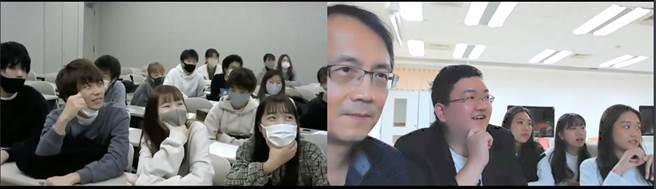 遠距離視訊方式進行期末報告,並由林建州老師與日本西南學院大學商學部王忠毅教授共同參與講評與問答。(圖/東吳大學提供)