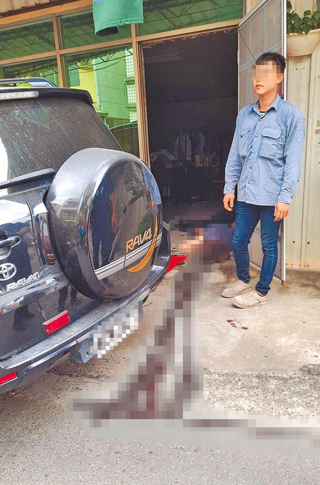 台南市善化區23日傳出2死槍擊命案,現場血跡斑斑。(讀者提供/劉秀芬台南傳真)