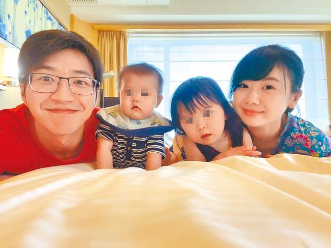 江宏傑(左起)、兒子小小傑、女兒小小愛、福原愛一家四口幸福畫面已成追憶。(摘自臉書)