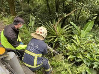 騎士北宜公路自摔撞對向車 墜落約1.5公尺深山谷
