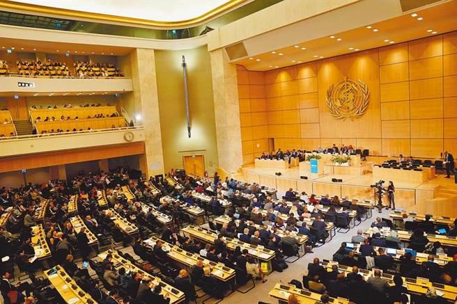 台灣抗疫成果獲得全球的掌聲,國際也有強烈呼聲盼將台灣納入WHO。圖為世界衛生大會在瑞士日內瓦萬國宮開會。(中新社)