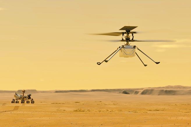 美國太空總署(NASA)23日發布火星直升機「機智號」拍下的空拍照。圖為「機智號」。(美聯社)
