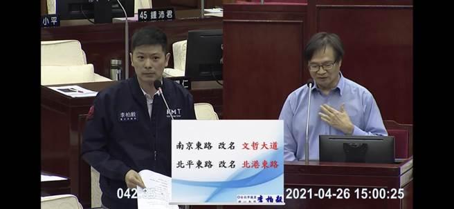 北市議員李伯毅26日,在台北市議會民政部門質詢時詢問民政局長藍世聰,如果「南京東路」改名為「文哲大道」,房產價值會跌還是升。(摘自台北市議會網站)