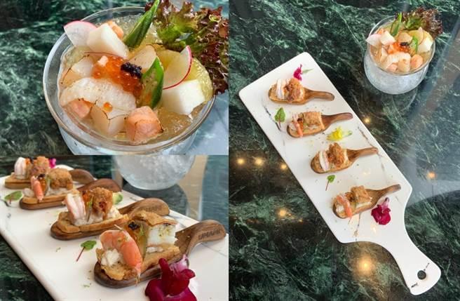外型浪漫的魚蟹雙鮮海味小艇及性價比超高的白酒醬漬海鮮(左上)。(圖/楊婕安攝)