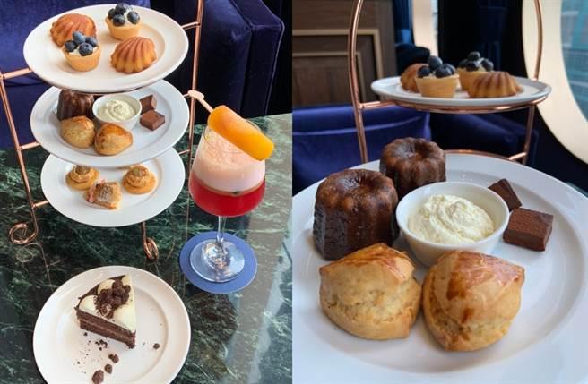 以手工司康、瑪德蓮蛋糕、可麗露、藍莓塔及生巧克力組成的英式下午茶。(圖/楊婕安攝)