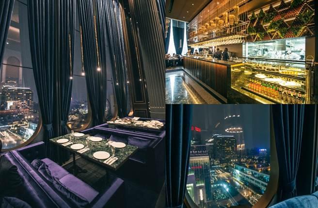 以挑高9米的大片落地窗氣派迎客,在裝潢上以金銅與石面異材質拼接打造時尚吧檯,為用餐氛圍帶來寬闊高雅的空間感。(圖/品牌提供)