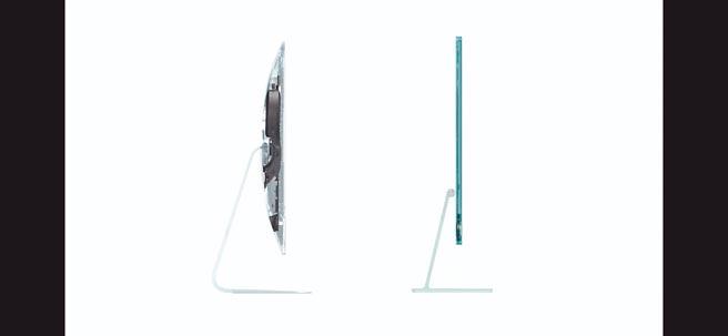 蘋果全新iMac因採M1晶片,機身僅11.5mm的超薄、輕於5公斤。(翻攝直播畫面)