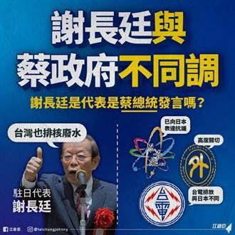 江啟臣質問蔡總統:謝長廷還能代表中華民國嗎?