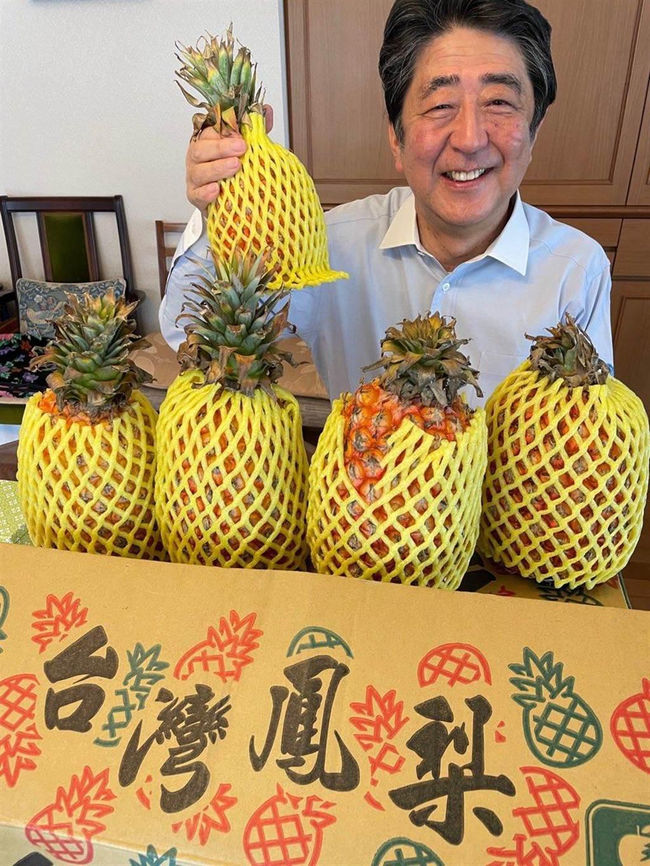 日本前首相安倍晉三今天在推特貼出手拿台灣鳳梨的照片,笑稱「看起來好好吃」。(取自安倍晉三推特)