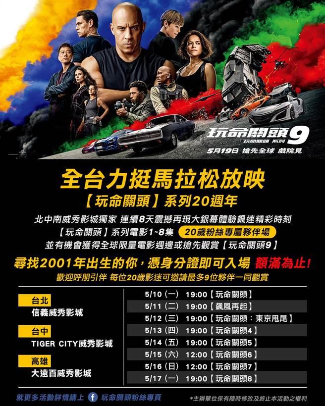 《玩命關頭》系列20周年馬拉松放映活動。(UIP提供)