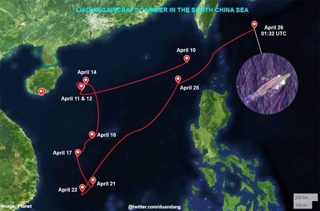 由行星實驗室公布的行星觀測衛星拍攝照片繪製的遼寧艦南海航跡圖,在2周內幾乎是繞遍了整個南海。(圖/推特@duandang)