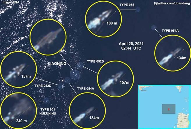 從OSINT衛星照片顯示,美軍柏克級驅逐艦從遼寧艦航母編隊左側位置切入,穿插在航母編隊當中,曾趁機接近遼寧號,此舉被大陸網民視為「挑釁」、「驕傲、蠻橫」,再度於網上激起一陣反美情緒。(圖/@duandang)