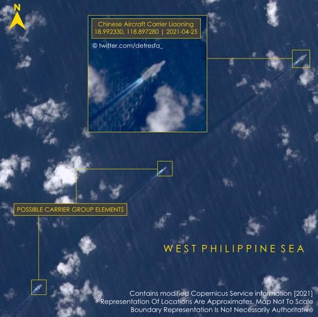 遼寧艦編隊返航經過巴士海峽時由地球觀測衛星哨兵2號拍攝到的圖片,經網友標明圖內各艦名稱位置。(圖/推特@OSINT_313)