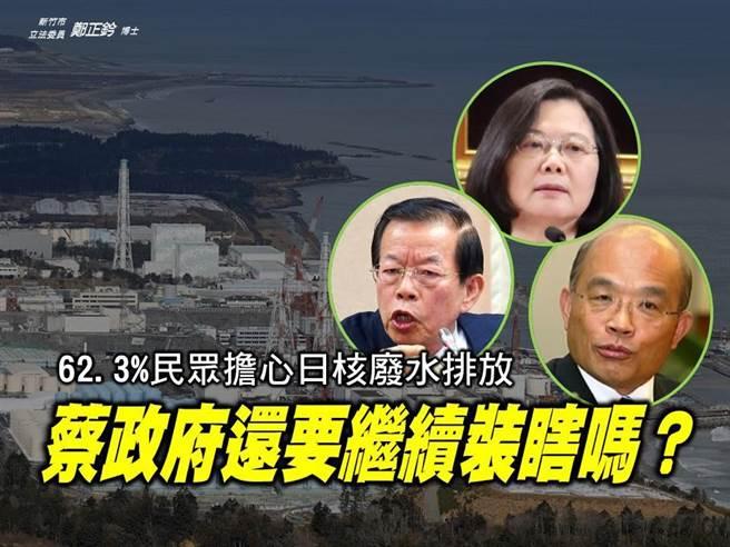 立委郑正钤轰蔡政府还在对日本核污水「继续装瞎」。(图/翻摄自郑正钤脸书)