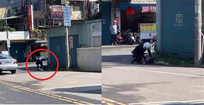 詹姓女師遭警察「大外割」壓制上銬,痛到尖叫。(圖片截自影片)
