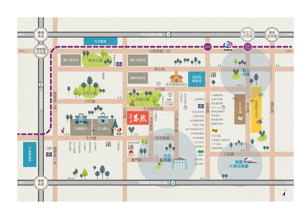 「京澄泰然」位在中路特區正核心地段,向陽公園第一排,不僅擁有恬靜的周邊環境,緊鄰學區文山國小及中興國中,附近機能皆在十分鐘範圍內。圖/業者提供。