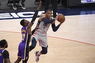 NBA》一眉哥慘遭八村壘橫扣 湖人作客輸巫師