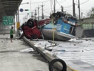 化学槽车衝出高架道路跌落地面 驾驶轻伤无化学物品外泄