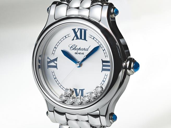 蕭邦新款Happy Sport the First腕表,表盤上有7顆活動鑽石,保留1993年原作的表殼、銀表盤、藍鋼指針與羅馬數字時標等設計。(蕭邦提供)
