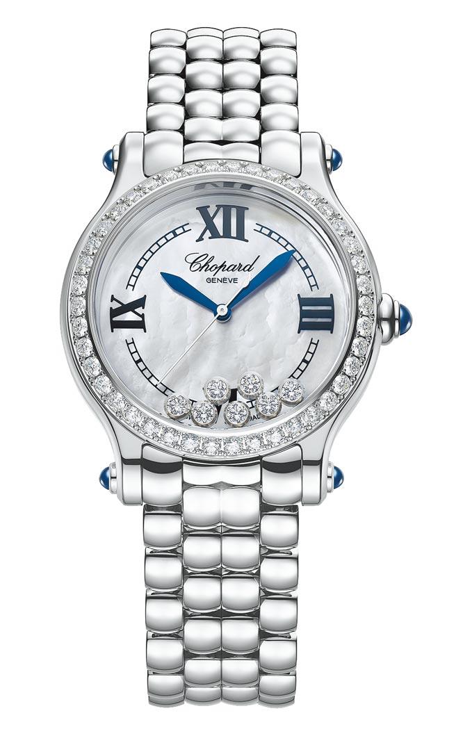 今年蕭邦推出新款Happy Sport the First腕表,表圈鑲鑽精鋼版限量788只,61萬5000元。(蕭邦提供)