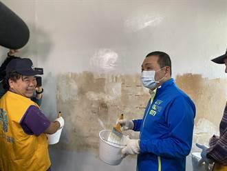 勞動節 侯友宜與新北工會行善團為弱勢戶粉刷牆面