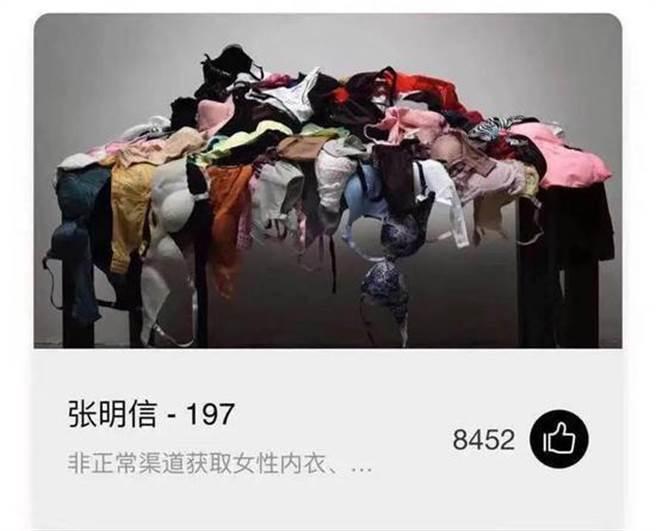 以買來卻虛構係盜取女性內衣參展的藝術大獎作品《197》,網路投票結果顯示截至4月27日刪除前,共獲得8452個讚。(新京報/受訪者供圖)