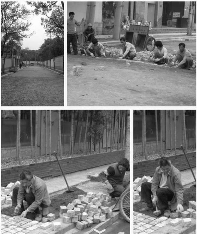 工人正在鋪設上海傳統的彈格路。(作者提供)