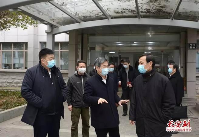 武漢疫情爆發時,中共中央政法委祕書長陳一新進駐武漢。取自中國長安網。