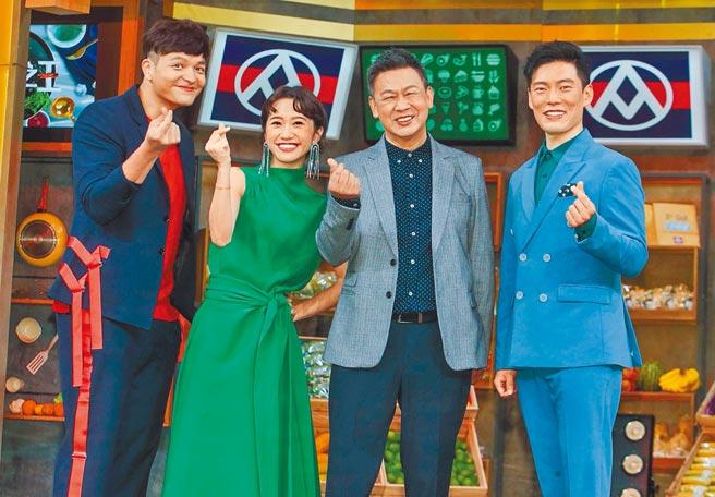 廚佛Fred(左起)、Lulu、台菜廚神阿發師、亞洲廚神Jason Wang等人昨出席《料理之王2》開播記者會。(粘耿豪攝)