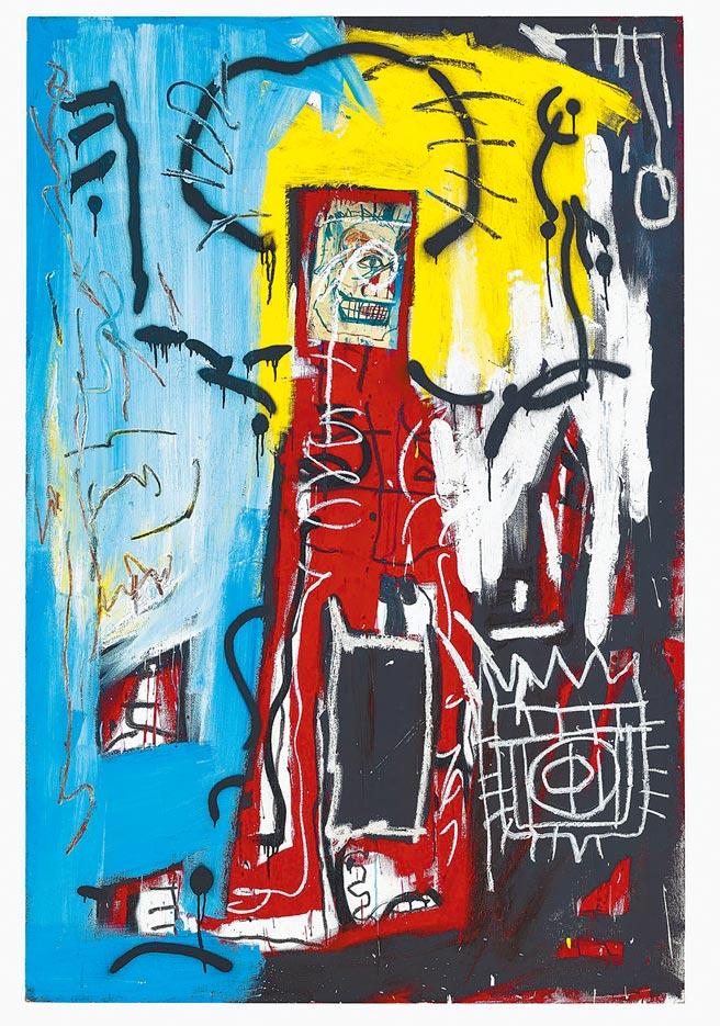 年輕新富族群喜愛的巴斯奇亞(Jean-Michel Basquiat)的《無題》來台展出,起拍價1400萬港元。(Christie's提供)