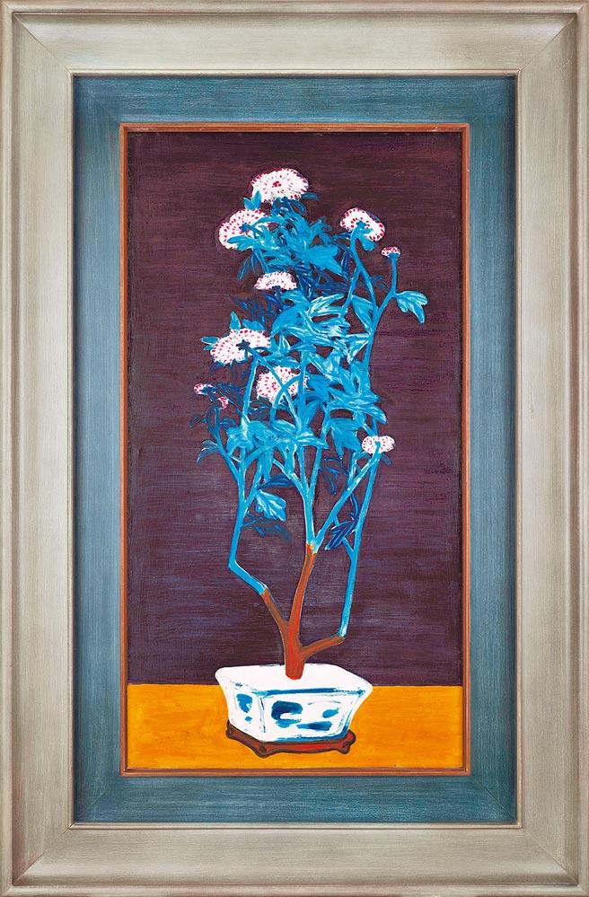 常玉最大尺幅藍枝粉菊作品《靜月瑩菊》來台展出,起拍價7800萬港元。(Christie's提供)