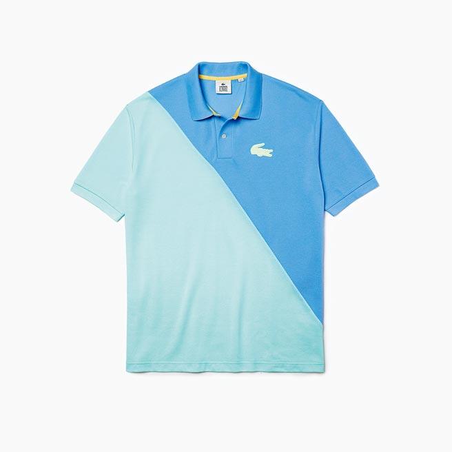 LACOSTE藍與青色塊拼接POLO衫,5280元。(LACOSTE提供)