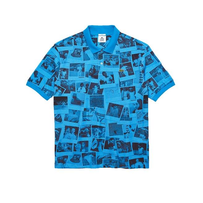 LACOSTE × Polaroid藍底拍立得圖案短袖襯衫,6080元。(LACOSTE提供)