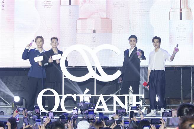 陳曉東(右起)明道、卡斯柏、劉維出席明道自創保養品牌新品發佈會。(歐希納提供)