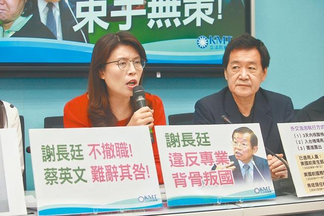 國民黨立院黨團要求駐日代表謝長廷24日到立院說明,總召費鴻泰(右)表示,如果謝不回來,國民黨團還會有持續動作,不會就這樣算了。(本報資料照片)