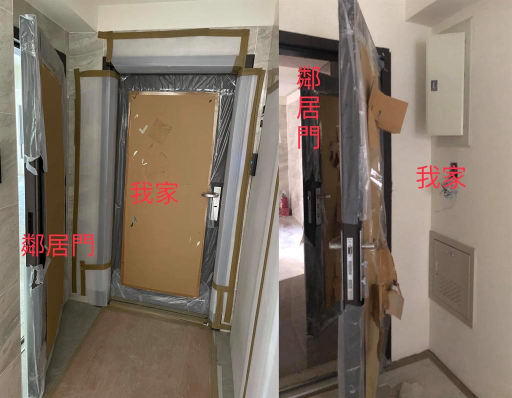 一名網友抱怨,鄰居將家門口改成向外開,嚴重擋住他家出入。(翻攝自 買房知識家(A你的Q)FB)