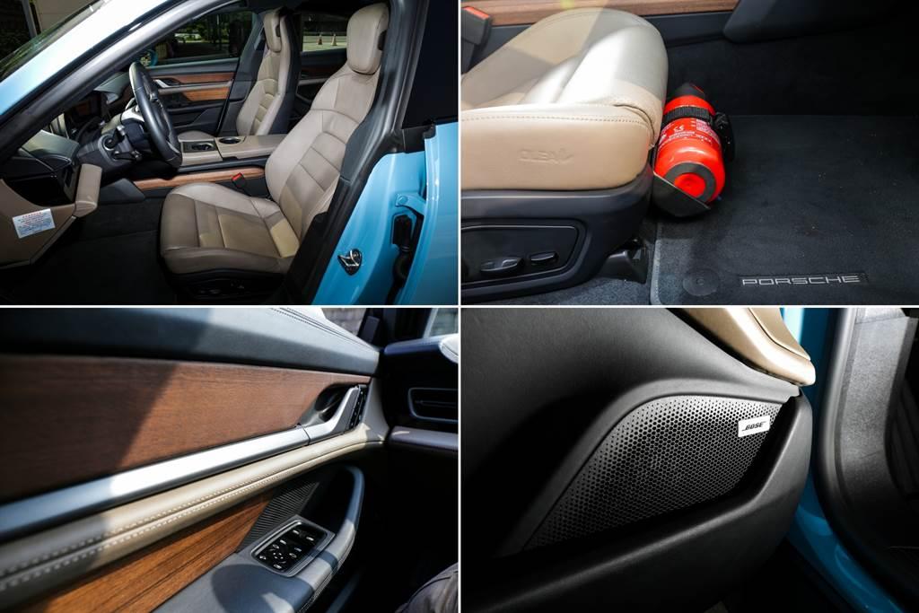 內裝材質採用橄欖葉揉製而成的雙色OLEA Club皮革,凸顯電動車的環保理念,不過代價不斐(39.9萬元),搭配胡桃木內裝飾板(10.3萬元),前座的兩張14向舒適型座椅也要價8.2萬元、滅火器9500元,相較之下要價8.6萬元的BOSE音響似乎是C/P值頗高的選配項目。