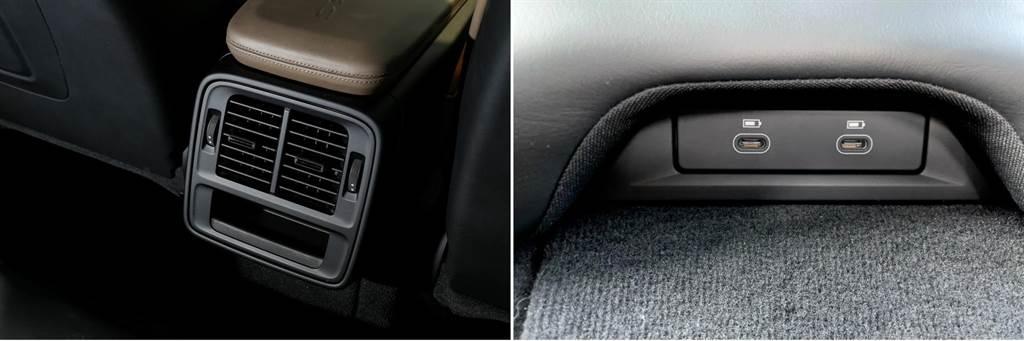 後座出風口為標配,若選配四區恆溫空調,則後座也將具備一塊螢幕來操作,後座中央椅墊下另有兩組Type-C接口。
