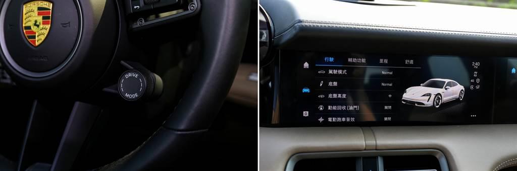 提供Range/Normal/Sport/Sport Plus/Individual等多種模式,每種模式都能針對底盤設定、底盤高度、動能回收系統、跑車音效等進行微調。