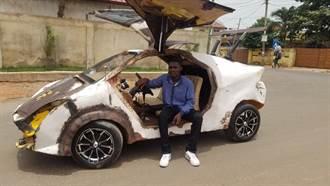 迦納天才少年用鐵管廢料DIY一輛汽車