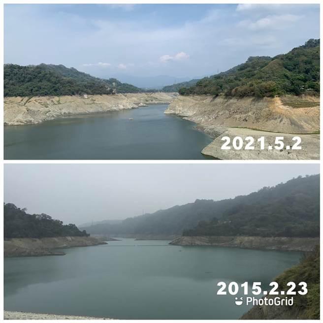有網友貼出鯉魚潭水庫2015年缺水時的照片,與現在比較之下,水位明顯更低許多。(翻攝自 鄭明典臉書留言)