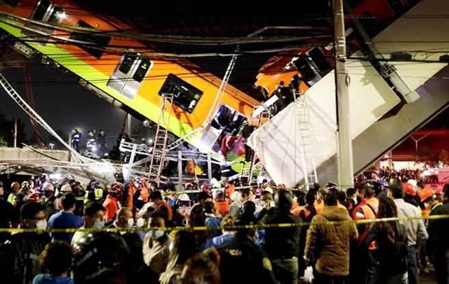墨西哥市一座高架橋3日晚間突然坍塌,導致一輛正在上頭行駛的地鐵瞬間從空中墜地,至今已造成15人死亡、70人受傷。(圖/路透社)