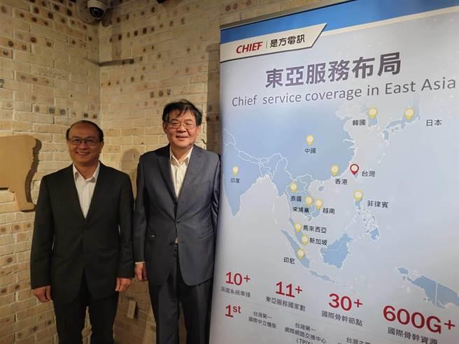 是方董事長吳彥宏(右)、總經理劉耀元(左)。(黃琮淵攝)