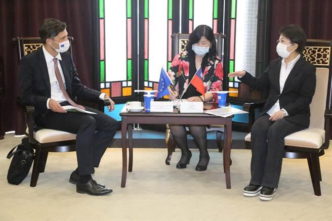 歐洲經貿辦事處長高哲夫5日率團至台中市政府拜會市長盧秀燕。(盧金足攝)