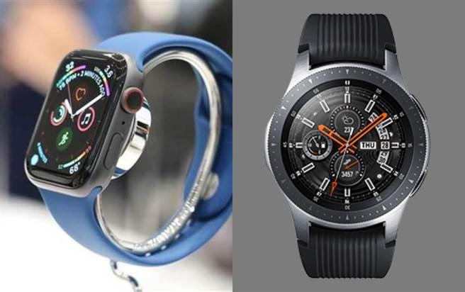 Apple Watch以及三星Galaxy Watch LTE。(黃慧雯攝、摘自三星官網)
