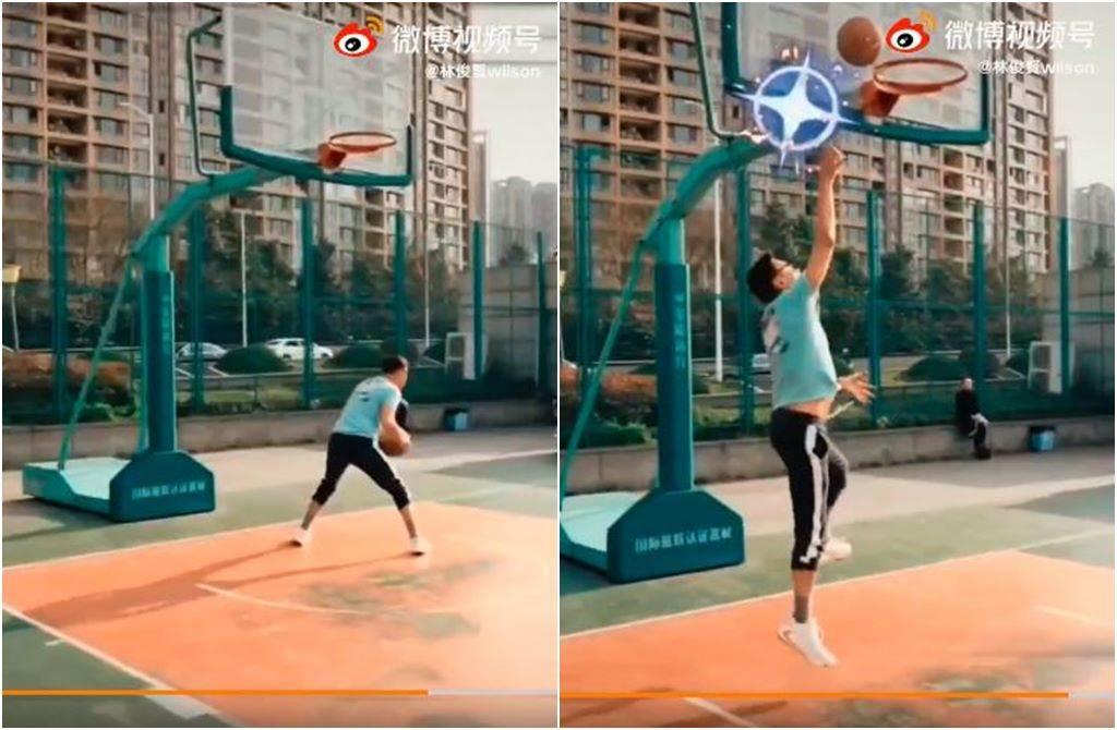 林俊賢上個月曾PO打籃球的影片。(圖/翻攝自林俊賢微博)