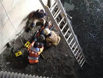 中年女墜7米深溪床滿身爛泥 警消吊掛搶救
