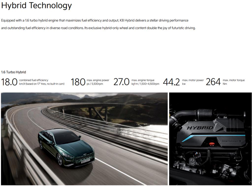 全新 1.6 TURBO HYBRID 動力加持,KIA K8 Hybrid 韓國首發