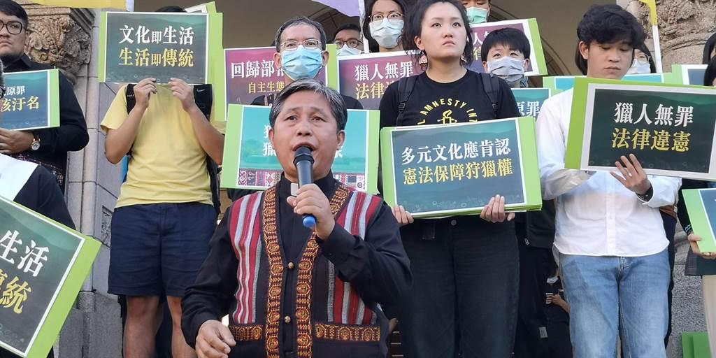 原住民狩獵釋憲案大法官7日宣示,泰雅爾族民族議會秘書長歐蜜‧偉浪痛批是「一場鬧劇」。(黃捷攝)