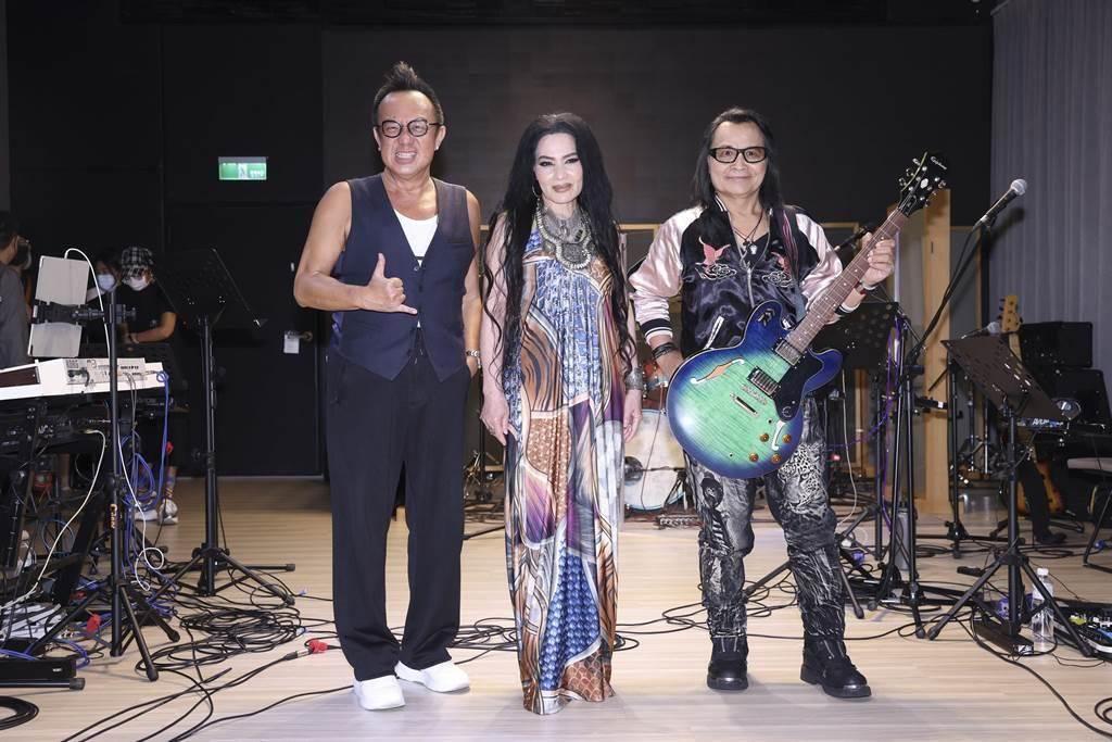 沈文程(右起)、潘越雲、黃大煒今為演唱會彩排。 (大大娛樂提供)